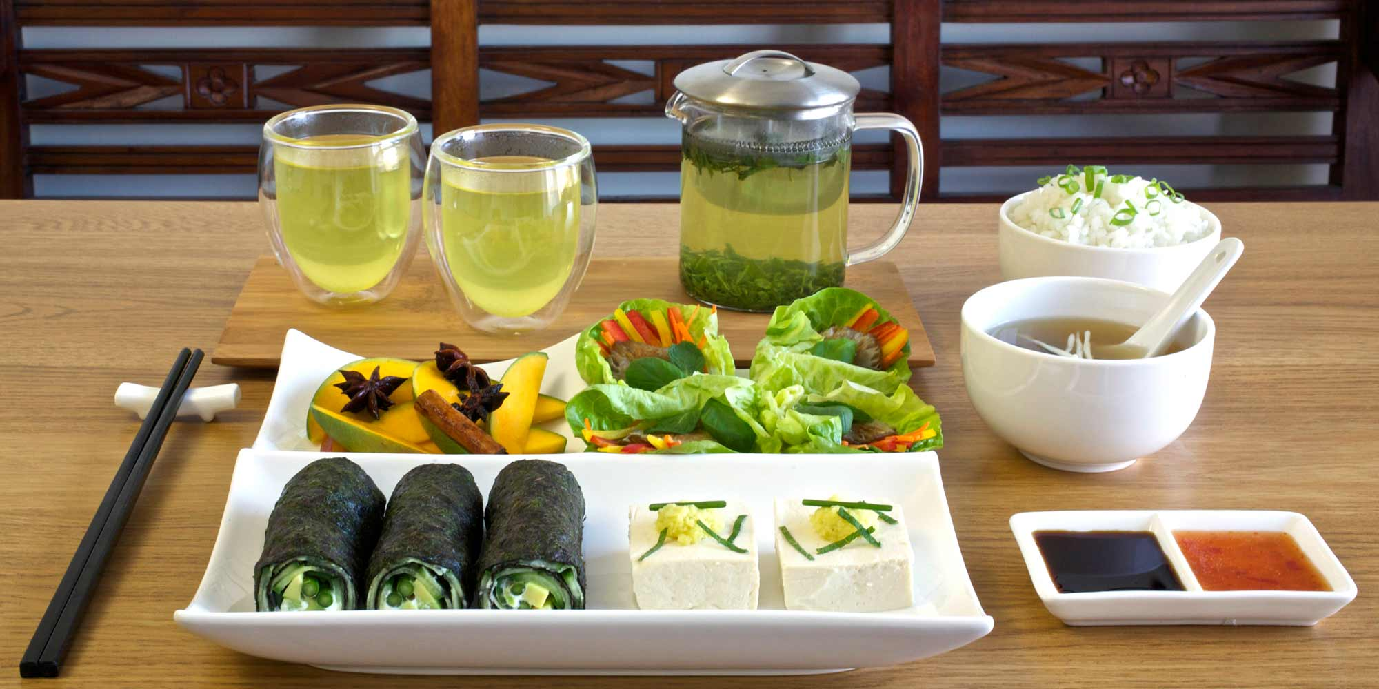 Spread of Japanese inspired canapes with sencha green tea