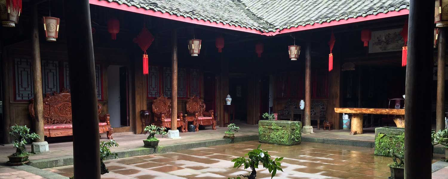 Traditional enclosed Chinese courtyard on Emei Shan in Sichuan
