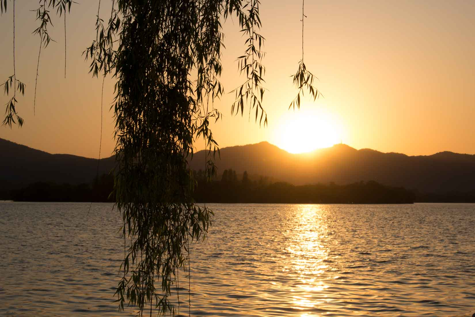Sunset at the West Lake Zhejiang China