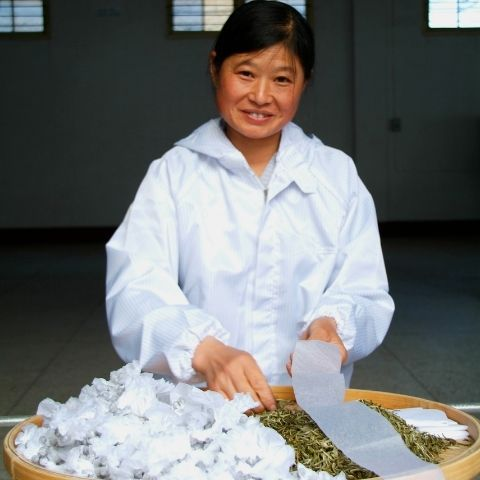 Each pearl of green tea is hand-rolled by a highly skilled worker