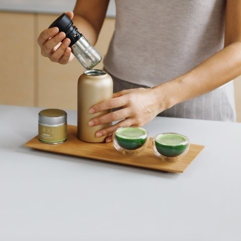 You can make matcha the traditional way with a whisk and bowl, or by simply using our modern matcha shaker.