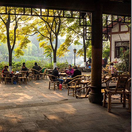 A shaded tea house in China - they've long used the cooling properties of certain teas