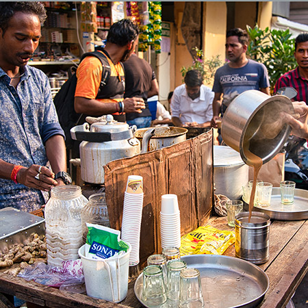 Hot, sweet, spiced Chai is used thoughout the day in India to refresh and energise in the heat!