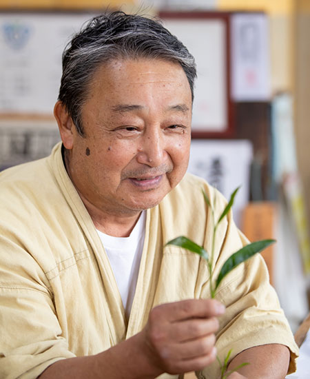 Mr. Ishiyama, inspects the picking of a bud and young leaves used to make Sencha geen tea.