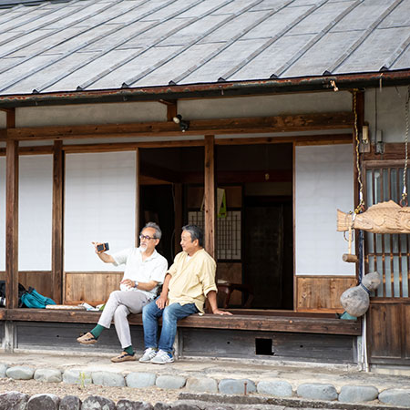 Ishiyama's shop backs on to his fields with plenty of space for afternoon tea drinking.
