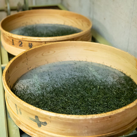 One of the last steps of tea production is the sorting of the leaves - often done in large sieves, so that the smaller, broken leaves fall through.