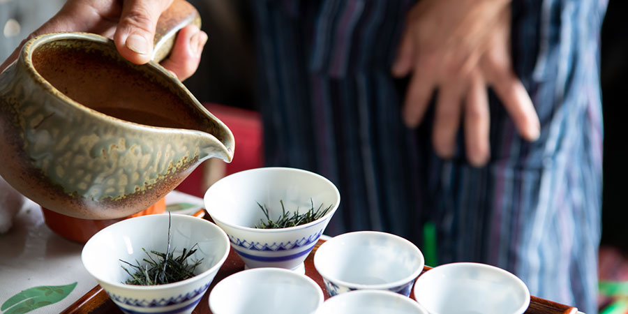 As we spoke the Miyazakis prepared their tea in small porcelain bowls, repeasted short infusions meant that all of the umami, sweetness & green flavour was enjoyed.