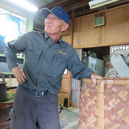Mr Miyazaki oversees the processing of the leaves in their wooden workshop.