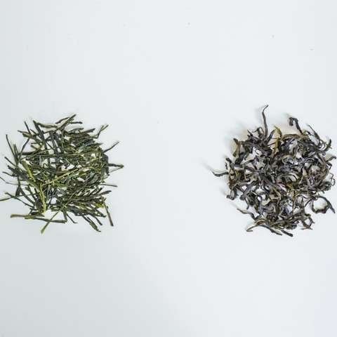Notice the deep green, needle shaped leaves of Sencha (left) compared to the seaweed-green, finely twisted leaves of Jade Sword (right).