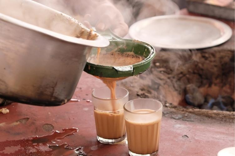 Traditional Masala Chai being made - note the tea, milk and spices are boiled up together and so flavour is extracted by boiling.