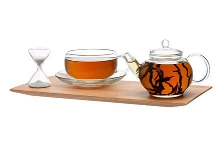 One Cup Teapot Set with Timer on Bamboo Tray