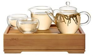 Traditional Chinese Gong Fu Tea Set on Bamboo Water Tray