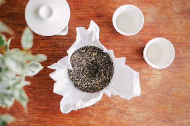 Puerh is pressed into cakes like this for easier storage and ageing, allowing the tea to develop richer and more complex flavours over decades.