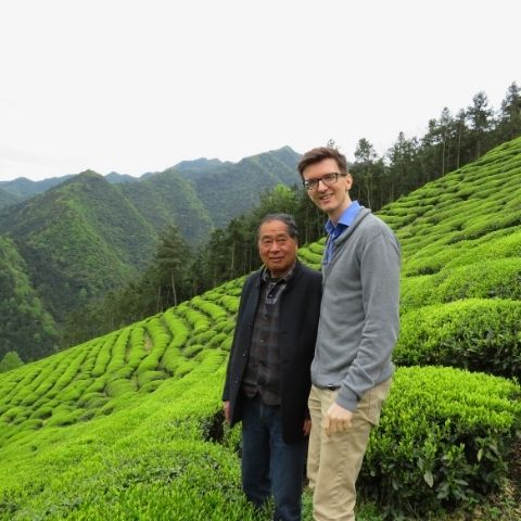 Me and tea maker Lao Song in Song's garden in Jiande, Zhejiang, back in April 2019 when I was last able to visit.