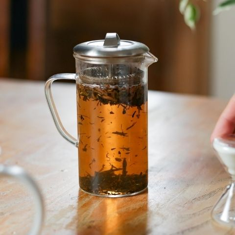 Although it's a green tea, Hojicha is a russet brown colour because it's been roasted.