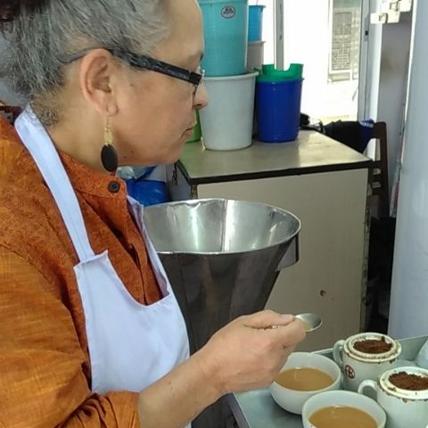 Sabita gets hands on with some tea, tasting her way through batches of freshly produced black tea