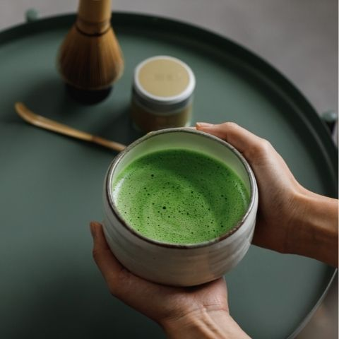 Matcha contains higher concentrations of caffeine and healthy antioxidants