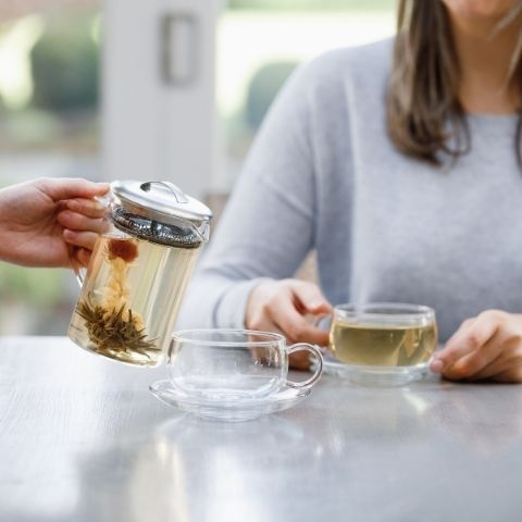 Our glass teaware is the best choice for displaying these artful flowering teas