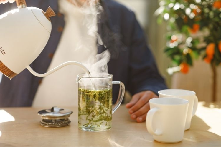 A cup of green tea is a naturally hydrating drink