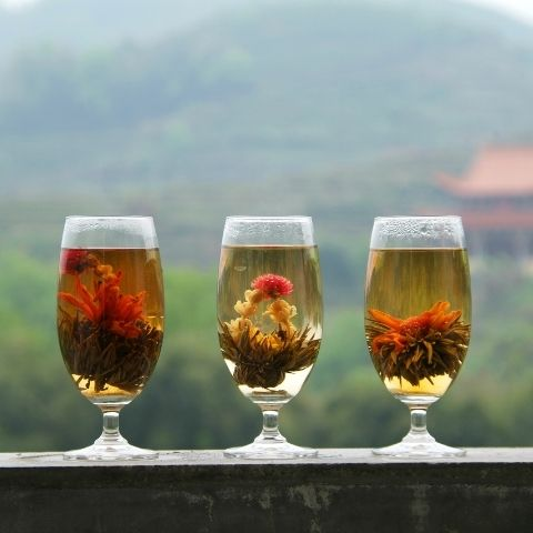 All of our flowering teas are expert blends of spring fresh green tea from Fujian, China