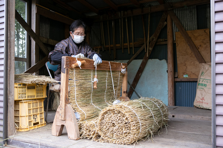 Mrs. Miyazaki spends weeks weaving the rice straw into canopy screens. It takes two days per screen and she is the only personal left in the family who knows this technique