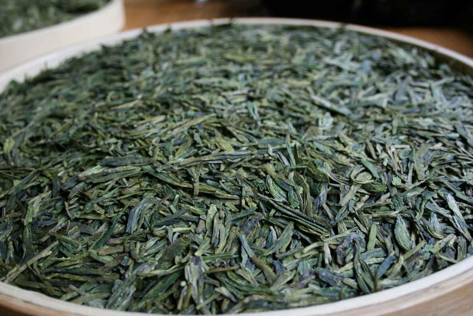 Dragon Well Tea Leaves After Firing