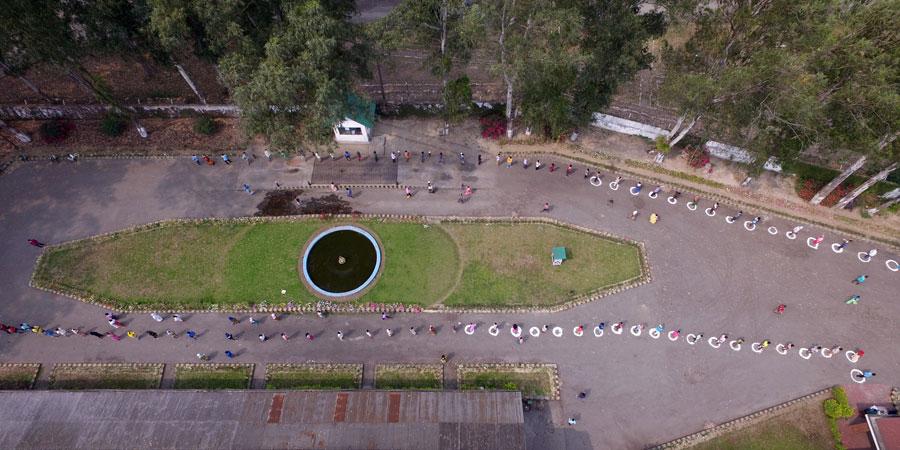 social distancing in action at Nonaipara garden, Assam, India April 2020