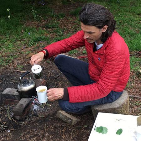 Ed making Ali Shan tea in his garden