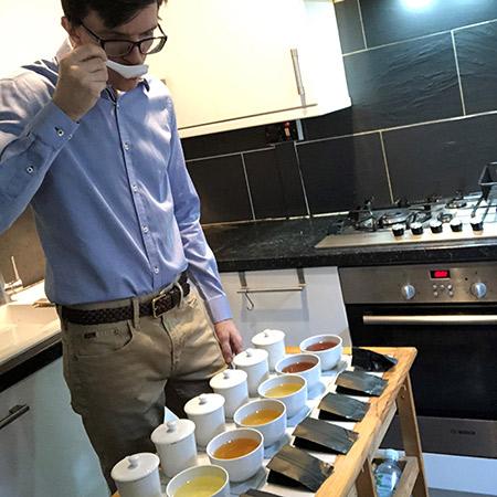 Tom tasting tea at home